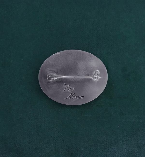 Oval brooch with a lucan beetle kite handmade in France view back | Res Mirum