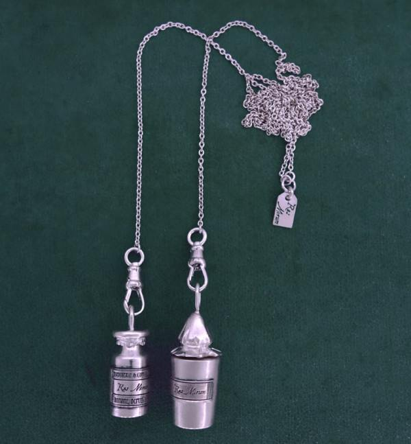 Scarf necklace with two antique pharmacy bottles in sterling silver 925, Veratrine & Creosote models | Res Mirum