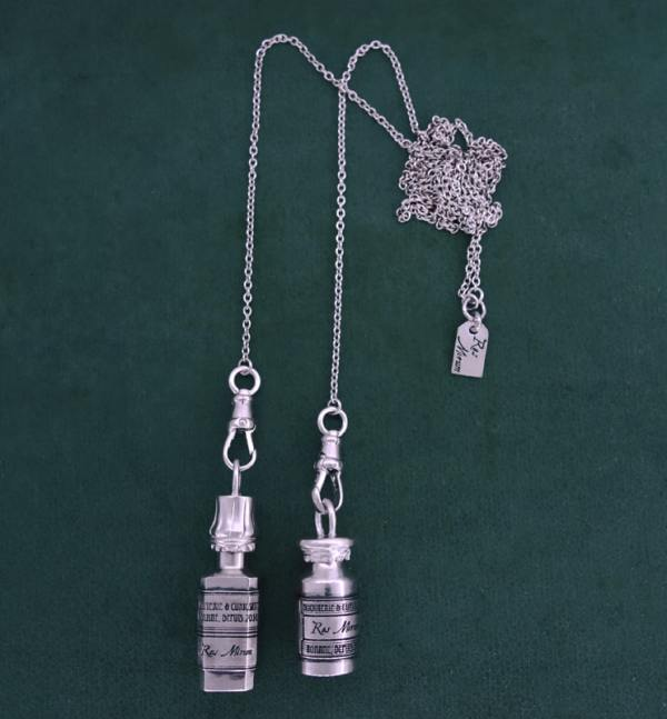 Scarf necklace with two antique pharmacy bottles in sterling silver 925, models Helichrysum & Veratrine | Res Mirum