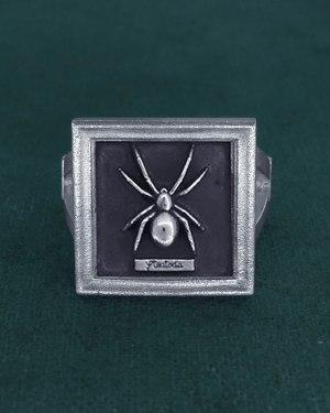 Bague carrée avec araignée Steatoda dans petit cadre entomologique en argent 925 fait main vue face | Res Mirum