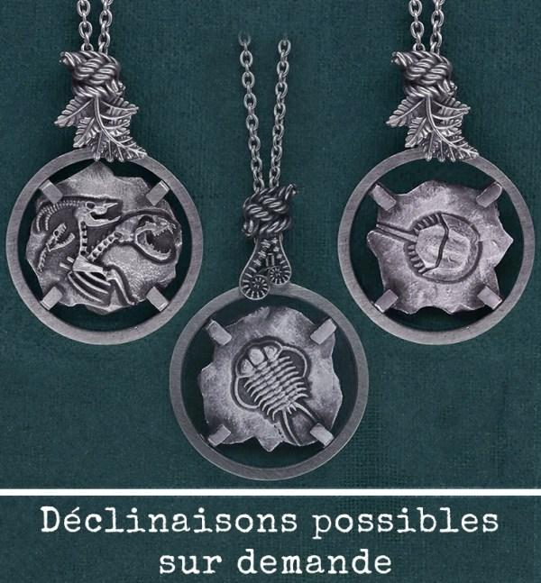 Sautoir esprit cryptozoologie chimère, limule & trilobite en argent 925 de fabrication artisanale   Res Mirum