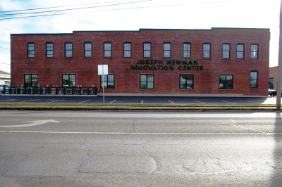 Joe Newman Innovation Center, restoration complete, from across the street