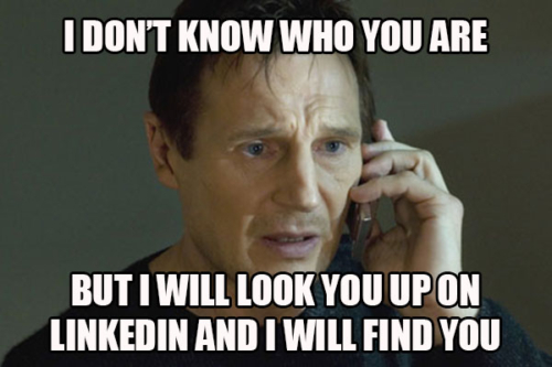 Look up contacts on LinkedIn meme