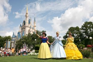 (L-R): Snow White, Cinderella and Belle make every day a royal fairy tale for Princesses of all ages at the Magic Kingdom.