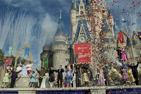 (DEC. 6, 2012): Fireworks and confetti fly at Cinderella Castle Dec. 6, 2012 during the Grand Opening of New Fantasyland at Walt Disney World Resort in Lake Buena Vista, Fla. Actress Ginnifer Goodwin, Disney Parks and Resorts Chairman Tom Staggs, singer Jordin Sparks and Mickey Mouse joined dozens of Disney characters on Cinderella Castle stage to celebrate the opening. New Fantasyland is a new area in the Magic Kingdom and is the largest expansion in the 41-year history of the theme park. (Kent Phillips, photographer)