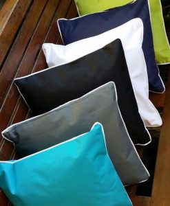 40x40 indoor outdoor cushions with white piping