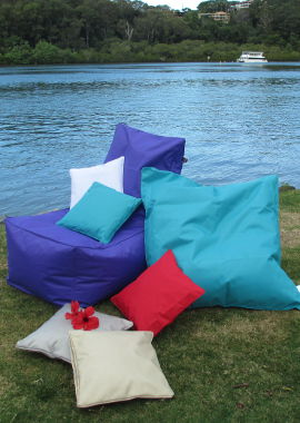 Indoor Outdoor bean bags and outdoor cushions