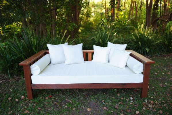 custom daybed and cushion covers in white