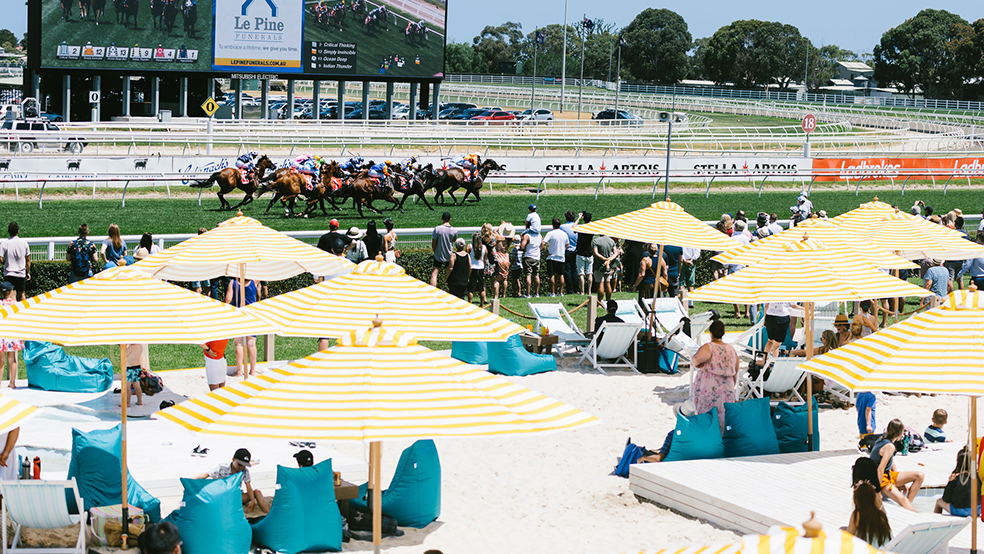 outdoor bean bags at Melbourne Races