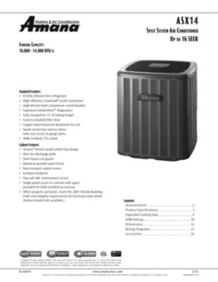 small resolution of product highlights the amana brand asx air conditioners