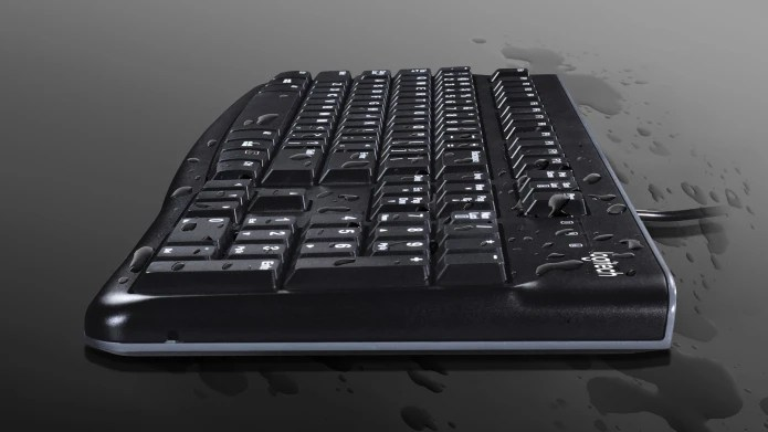 Side view of spill resistant keyboard