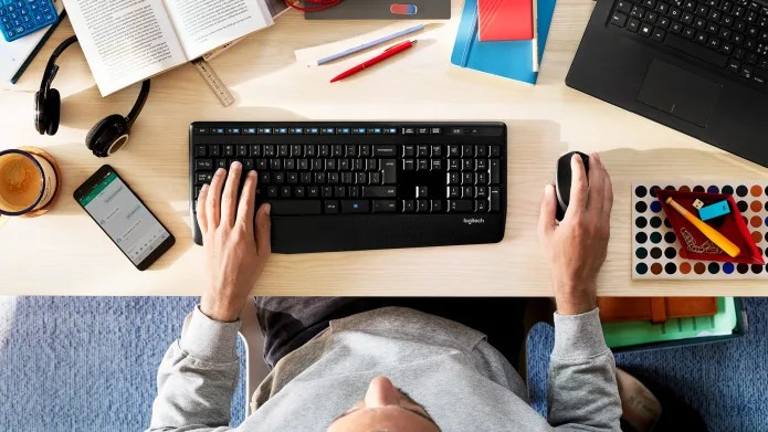 keyboard mice work desk setup