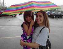 We went to the movies in the rain (Monsters U.)