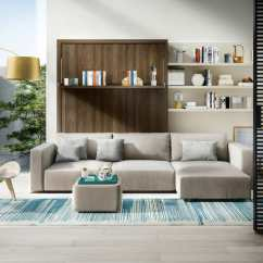 Wall Sofa All Modern White Leather Swing Queen Bed With Chaise Save Space Resource Transforming Murphy