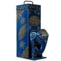 Wooden elephant figure bottle holder