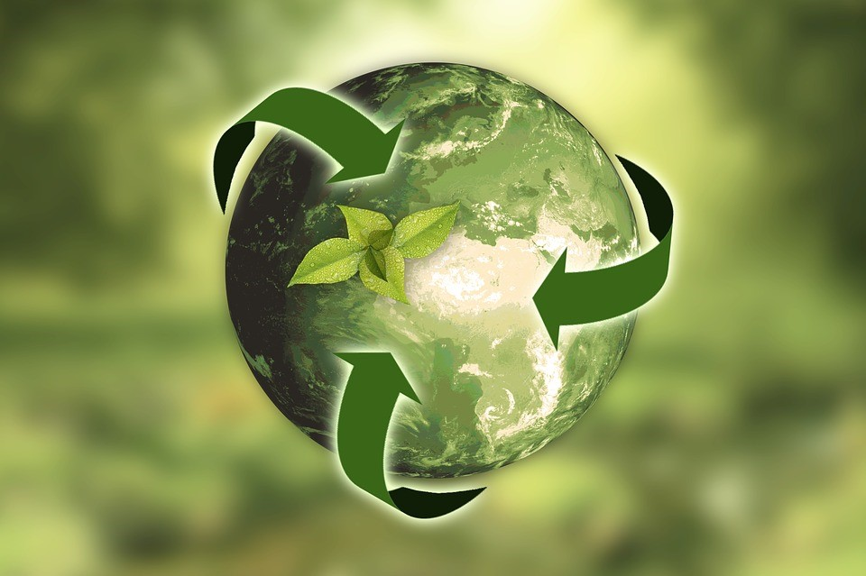 Globe with recycling logo