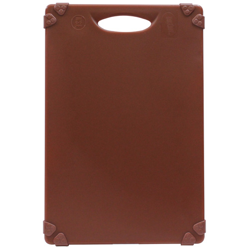 Brown color-coded cutting board for use with seafood