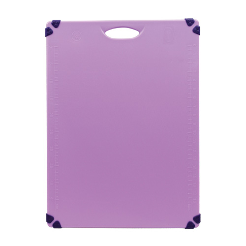 Purple color-coded cutting board for allergen special orders