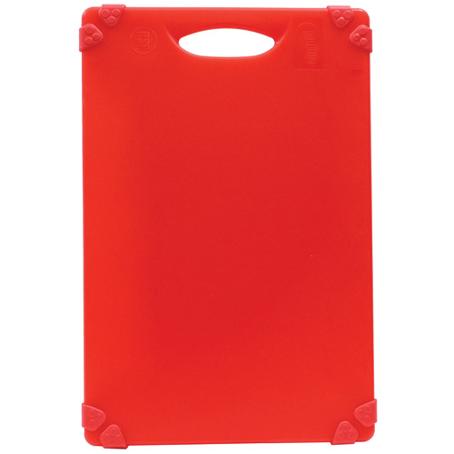 Red color-coded cutting board for raw meat