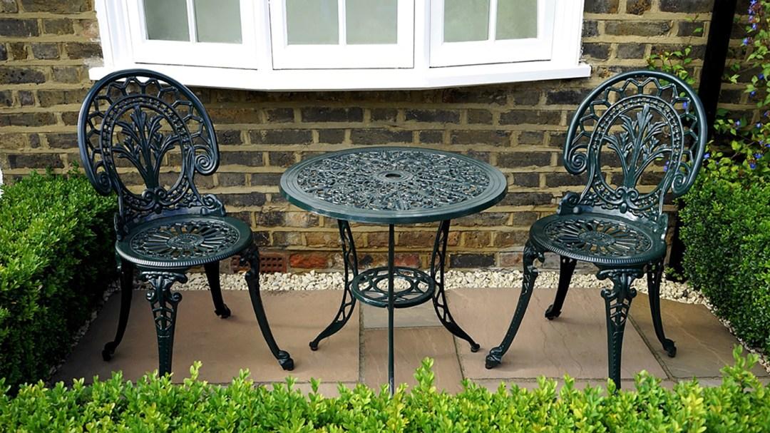 Wrought Iron Patio Set in Garden