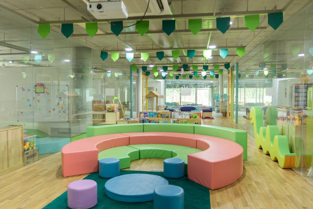 early childhood classroom with bright furniture