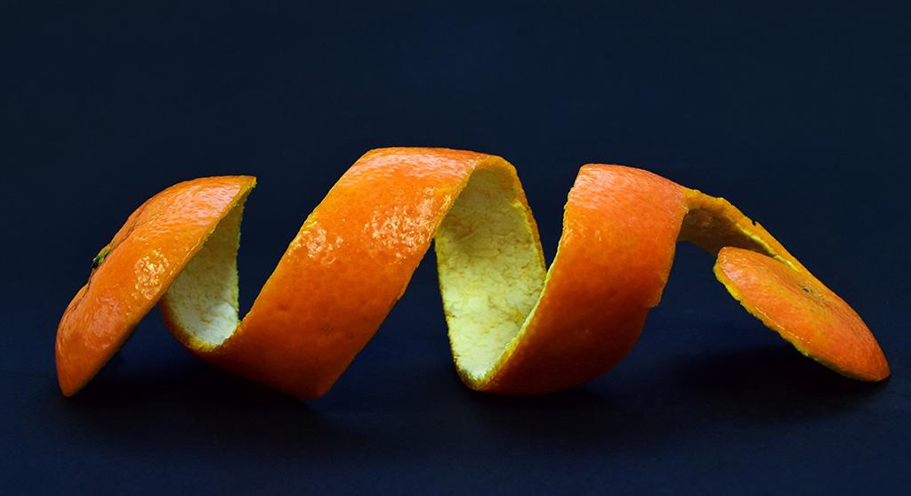 Orange Peel on Black Background
