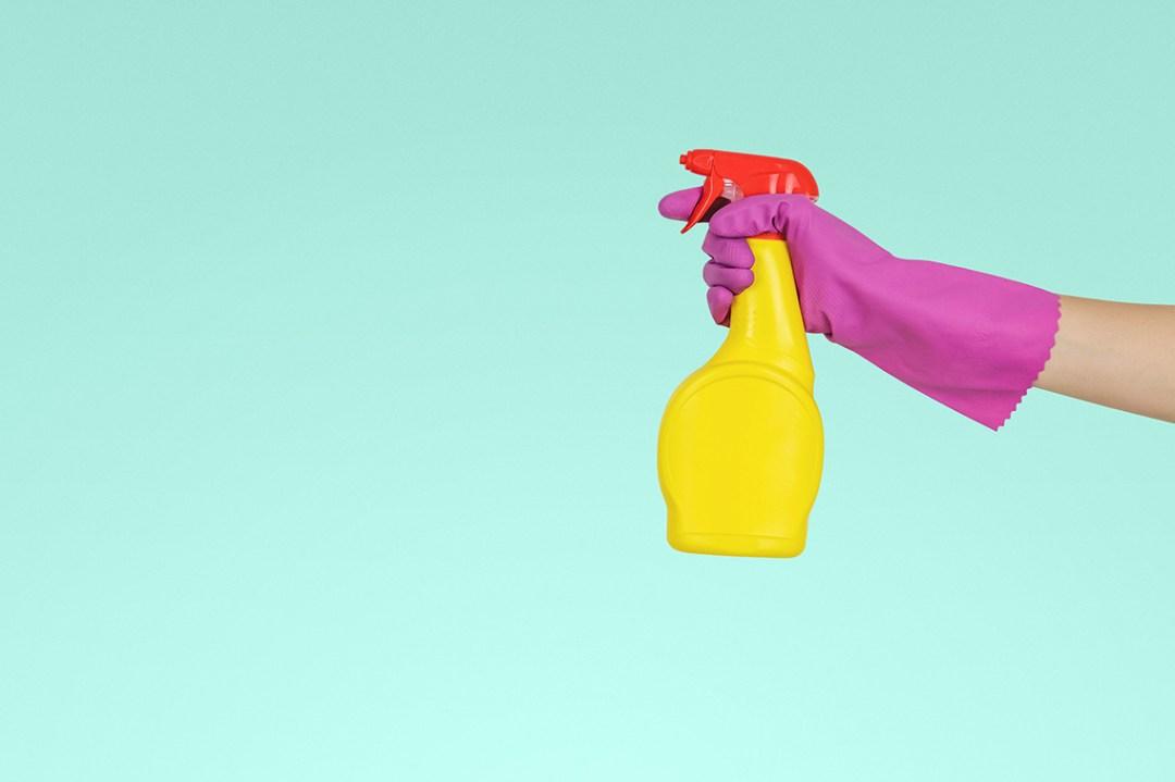 Spray bottle and gloves