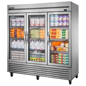 True Reach-In Refrigerator with three glass doors