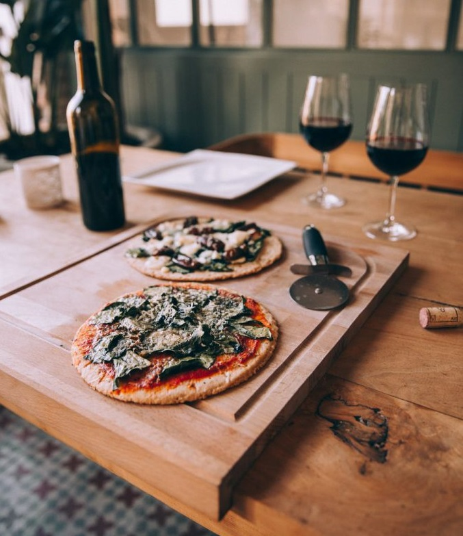 Take-and-bake pizza and wine