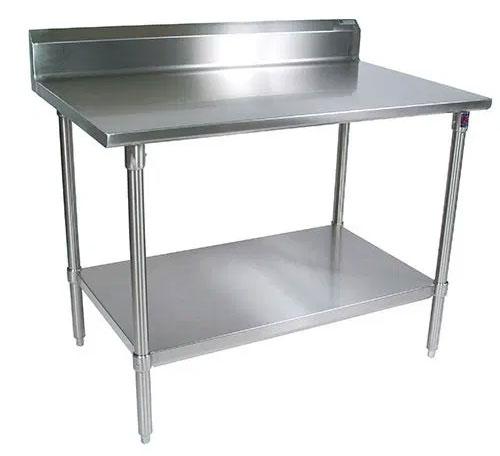 Stainless steel worktable with backsplash