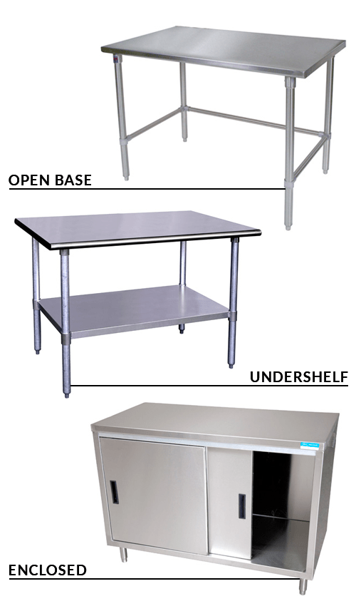 Commercial kitchen worktables