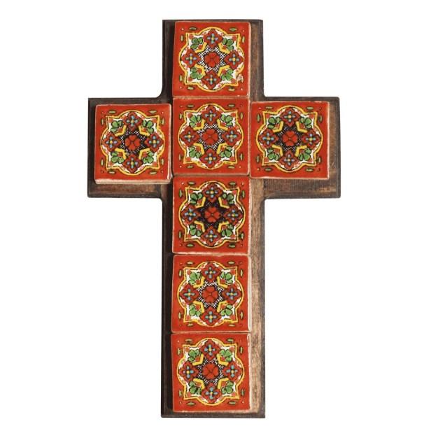 Cruz  madera Viejo Arte con talavera chica 3x3