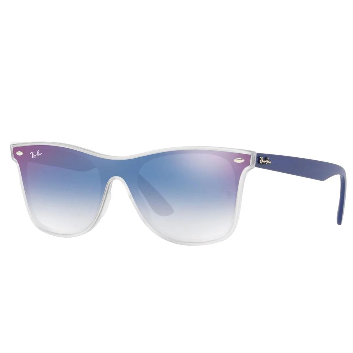ray ban transparente azul espejeado armazon inyectado transparente az