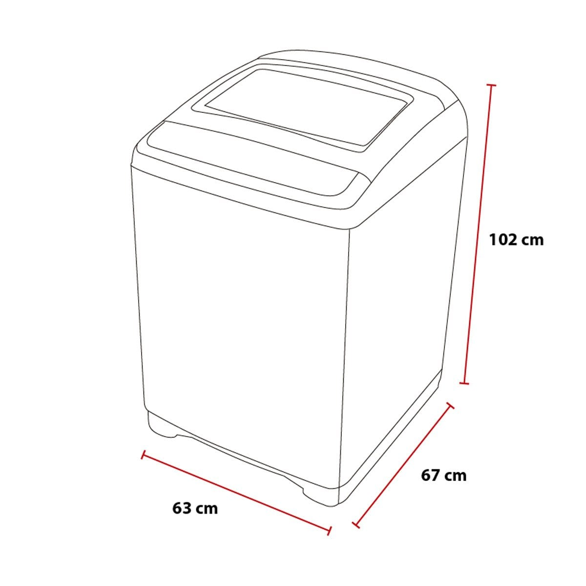 Lavadora daewoo superior 18kg roja