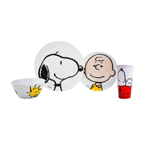 Fun Kids 1725-316/318ML  Juego de Vajilla Infantil de Melamina (Tipo Plástico) Snoopy Charlie Brown de 4 Piezas: Plato, Plato Postre y Vaso, Blanco, Original