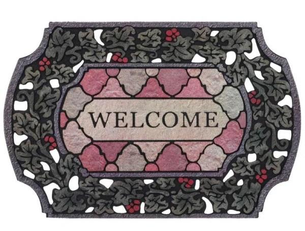 Tapete de Entrada Puerta Elegante Contemporaneo 98 x 58cm Welcome