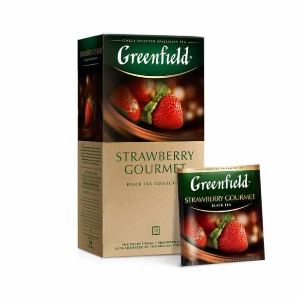 Greenfield Strawberry Gourmet, Té Negro con Hierbas y Frutas (cacao en polvo,  trozos de fresa), 25 bolsitas en sobres individuales, 37,5 g (25 bolsitas de 1,5 g c/u)