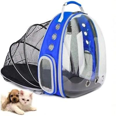 Mochila Transportadora De Animales/ Perros Y Gatos/ Con Domo// Azul