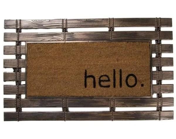 Tapete De Entrada Puerta Fibra De Coco Tipo Tablas De Madera Hello