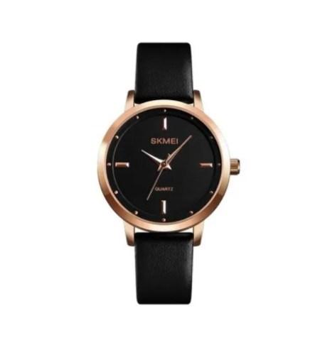 Reloj Para Dama Skmei 1457 Movimiento Cuarzo Correa Piel Color Negro