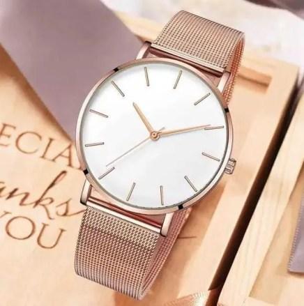 Reloj Para Dama Correa Metálica Elegante Ajustable Moda