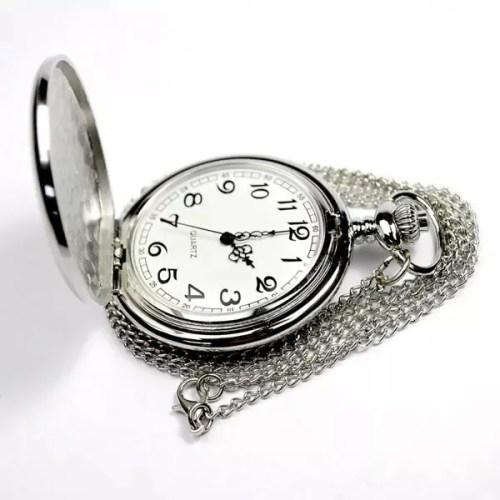 Reloj de Bolsillo analogico a bateria plateado liso 3027