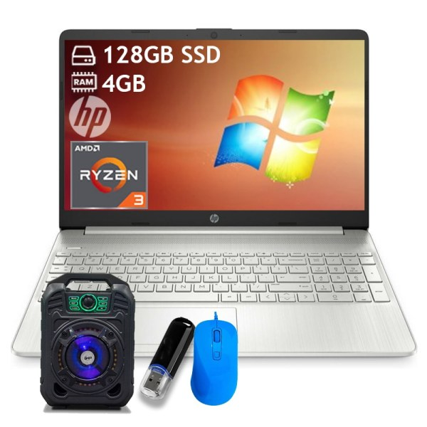 Laptop Hp 15.6 Fhd, Ryzen 3, 4gb Ram, 128gb Ssd, Silver + Bocina + Mouse + Memoria
