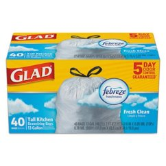 Glad Kitchen Bags Cabinets Modern Odorshield 13 Gallon Drawstring Trash 6 Boxes Clo 78361