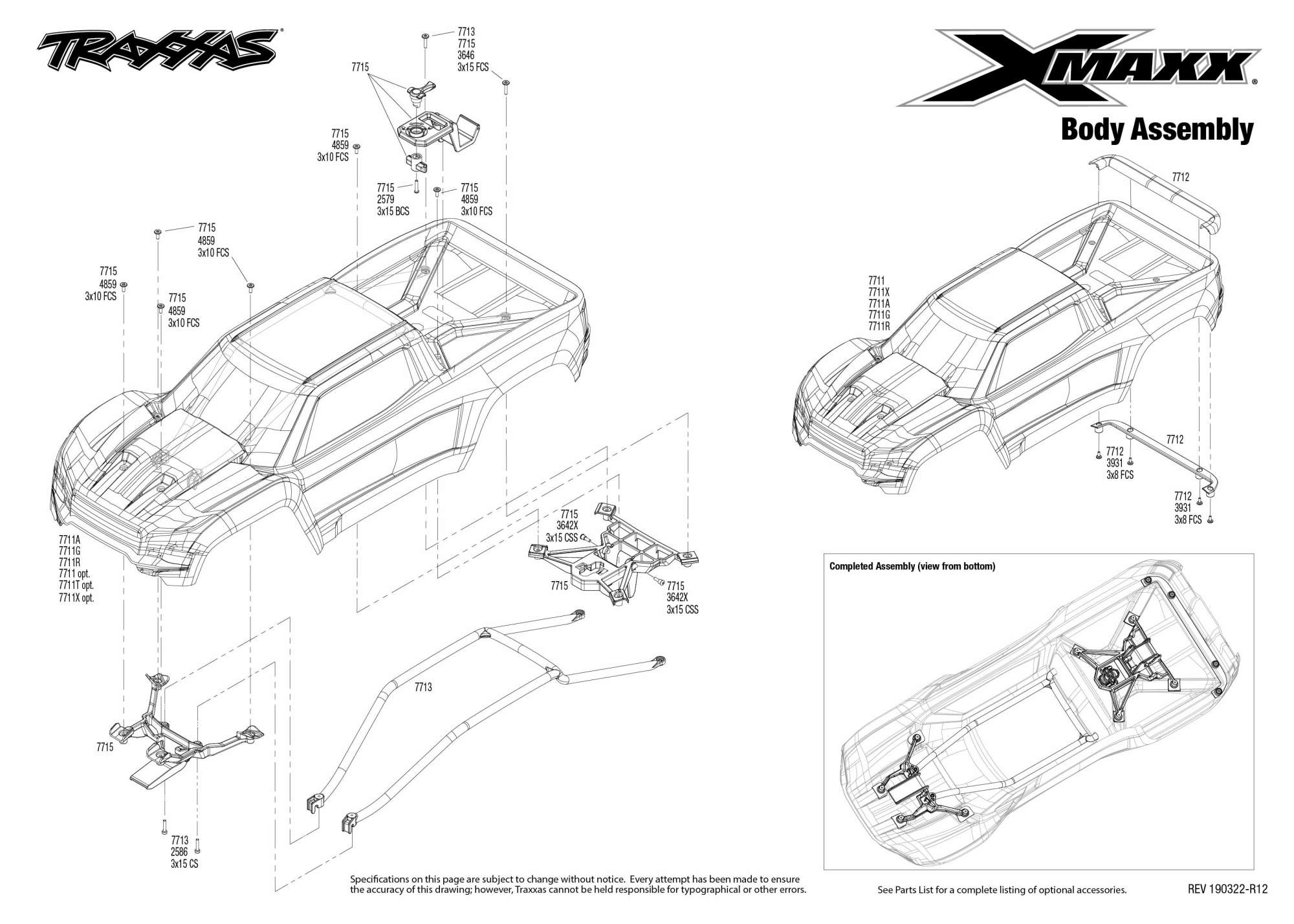 hight resolution of x maxx rtr 8s capable brushless 4wd 1 5 monster truck body assembly