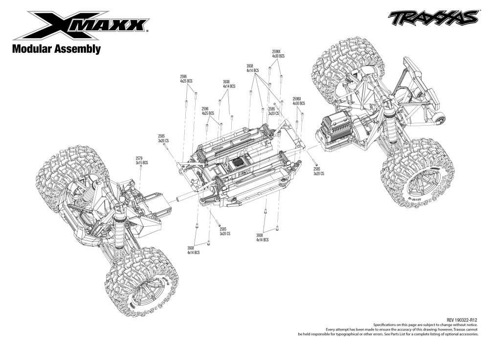 medium resolution of  x maxx rtr 8s capable brushless 4wd 1 5 monster truck modular assembly