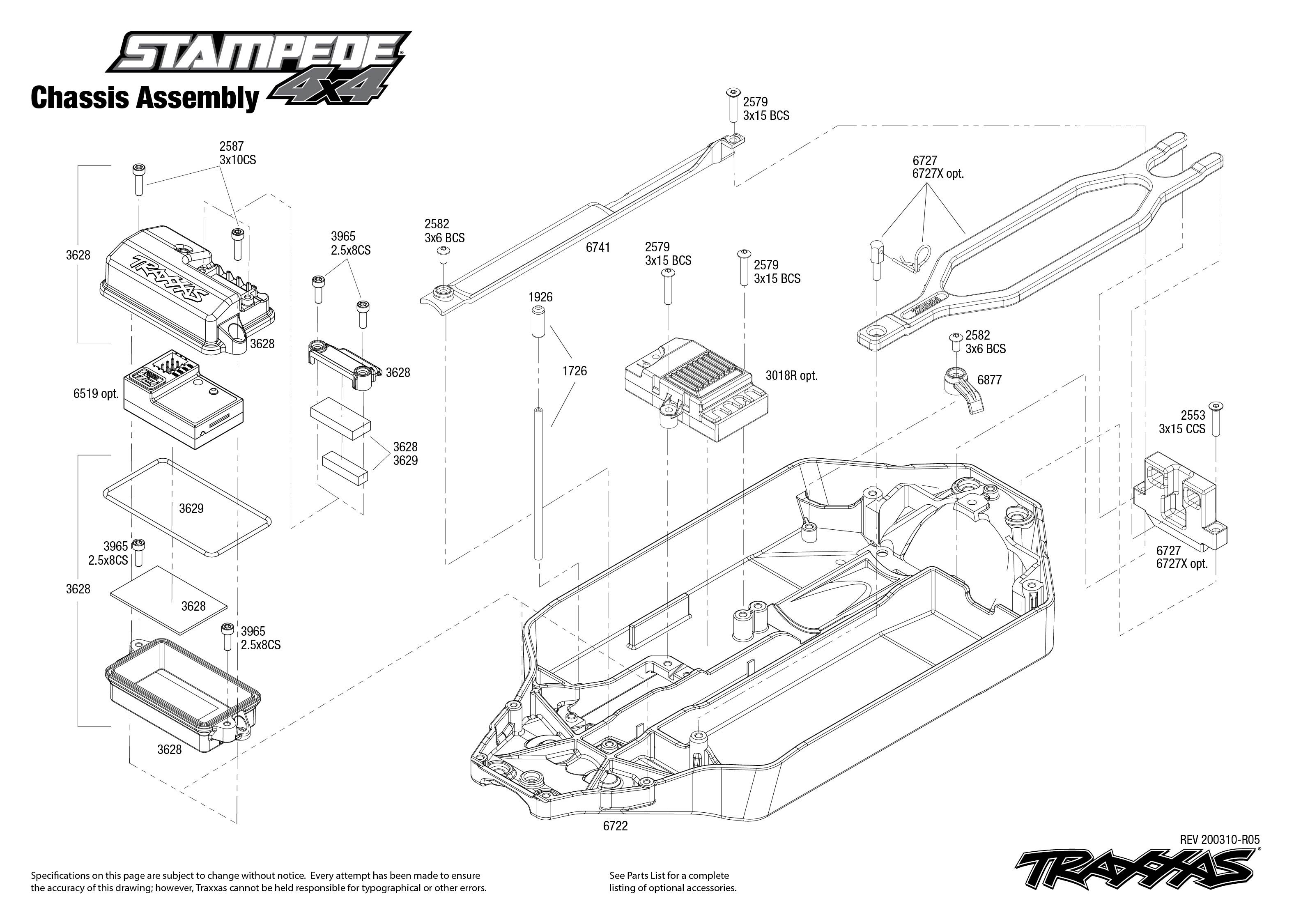Traxxas Stampede 4X4 1/10 Monster Truck Assembly Kit
