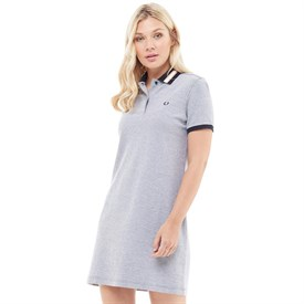 Fred Perry Womens Bomber Stripe Collar FP Dress White