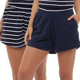 Board Angels Womens Yard Dyed Stripe Plain Two Pack Jersey Shorts Navy/Navy/White