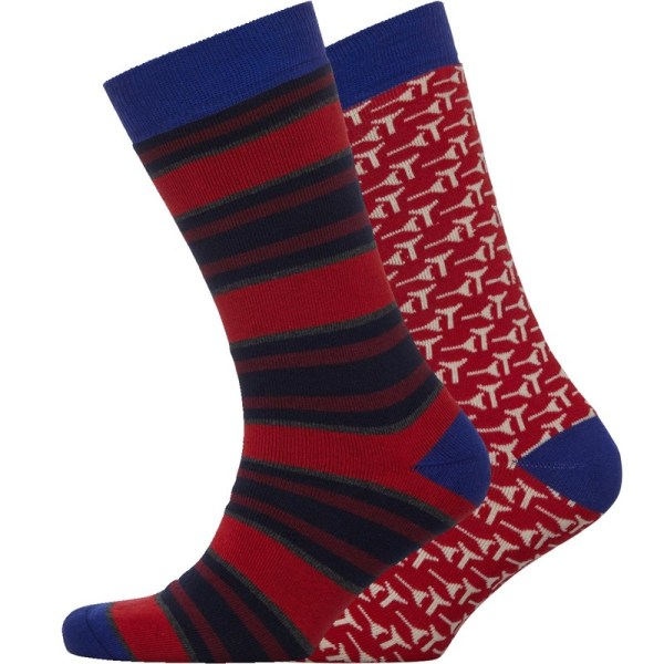 Ted Baker Mens Golfpak Two Pack Golf Socks Red